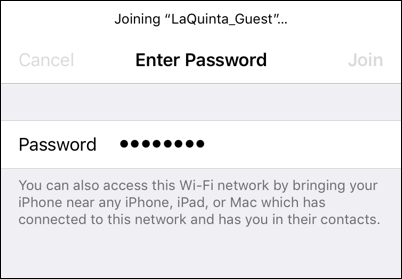 iphone ios11 wifi password shared la quinta