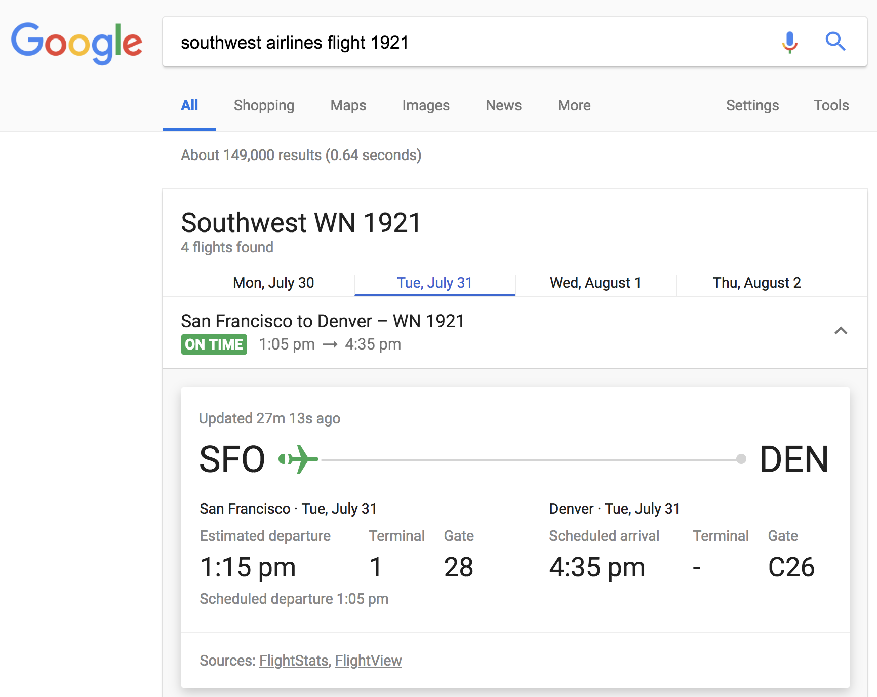 google search southwest airline flight status