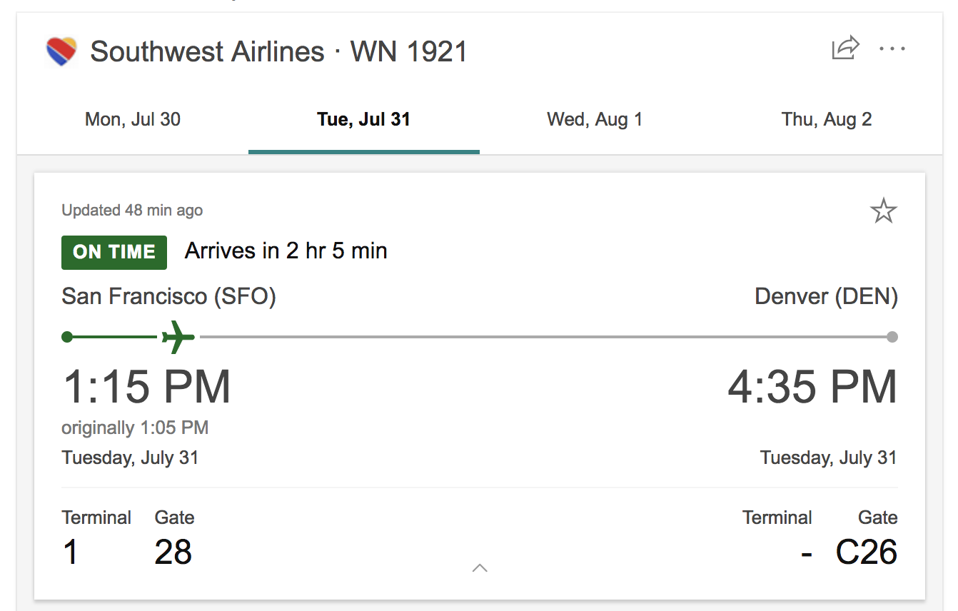 bing search southwest airlines flight info