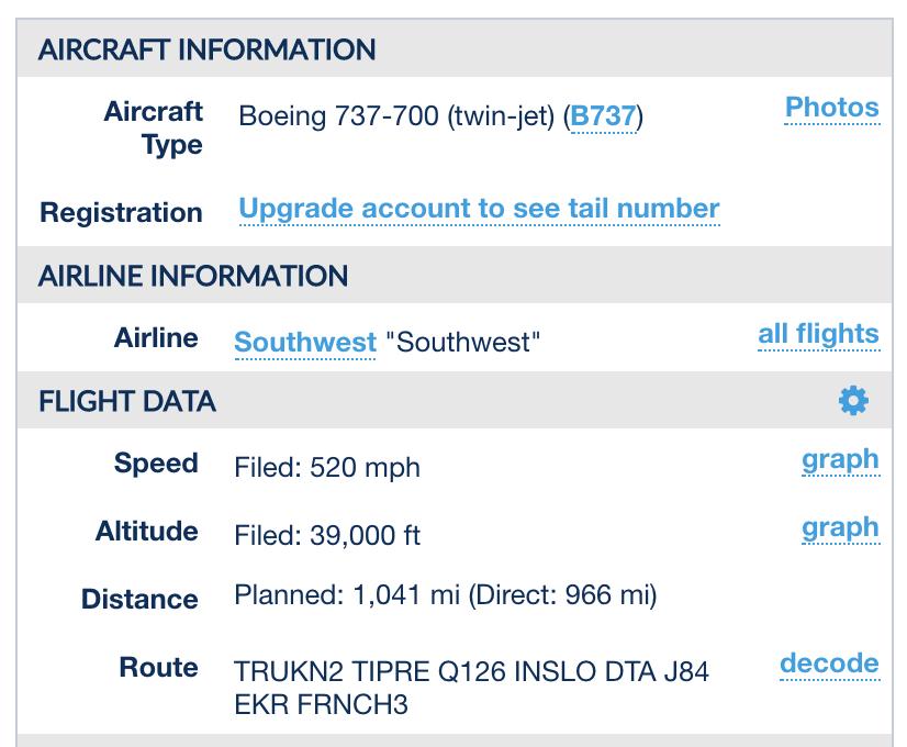 flightaware flight info as filed faa
