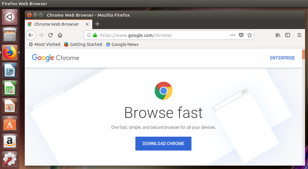 google chrome, in firefox, linux