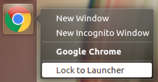 lock chrome to unbuntu linux launcher bar