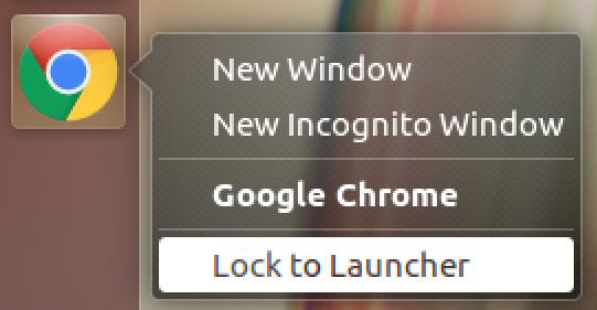 lock chrome to unbuntu linux launcher bar