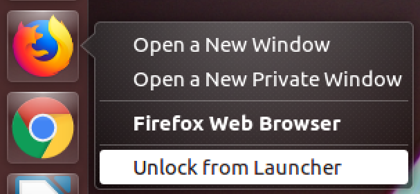 unlock from launcher, firefox, ubuntu linux