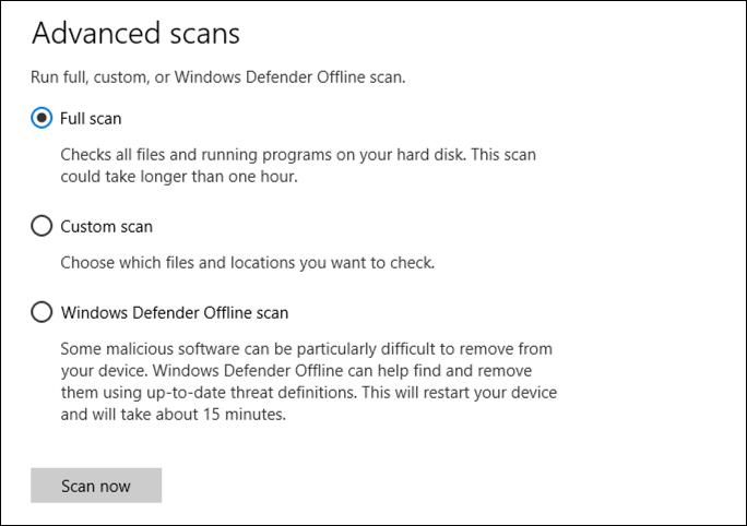 advanced scan options windows defender