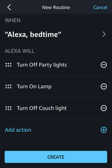 all actions specified, amazon alexa routine programming