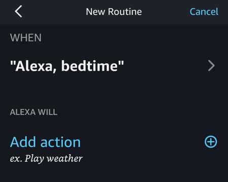 alexa routine - set up actions