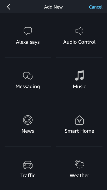 amazon alexa - add action - action type list