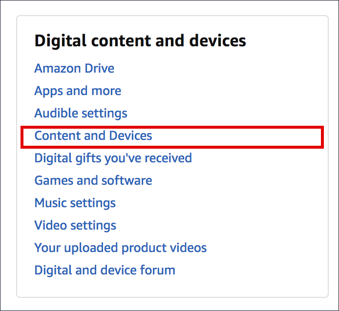 amazon.com - digital content and devices settings