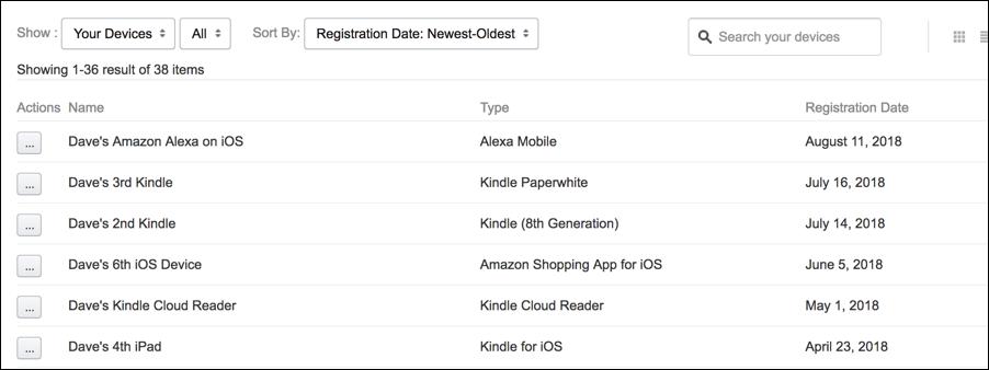 amazon kindle echo alexa devices list settings preferences