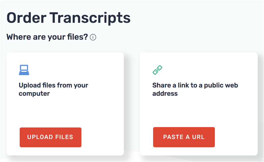 rev.com transcription services - source file upload options