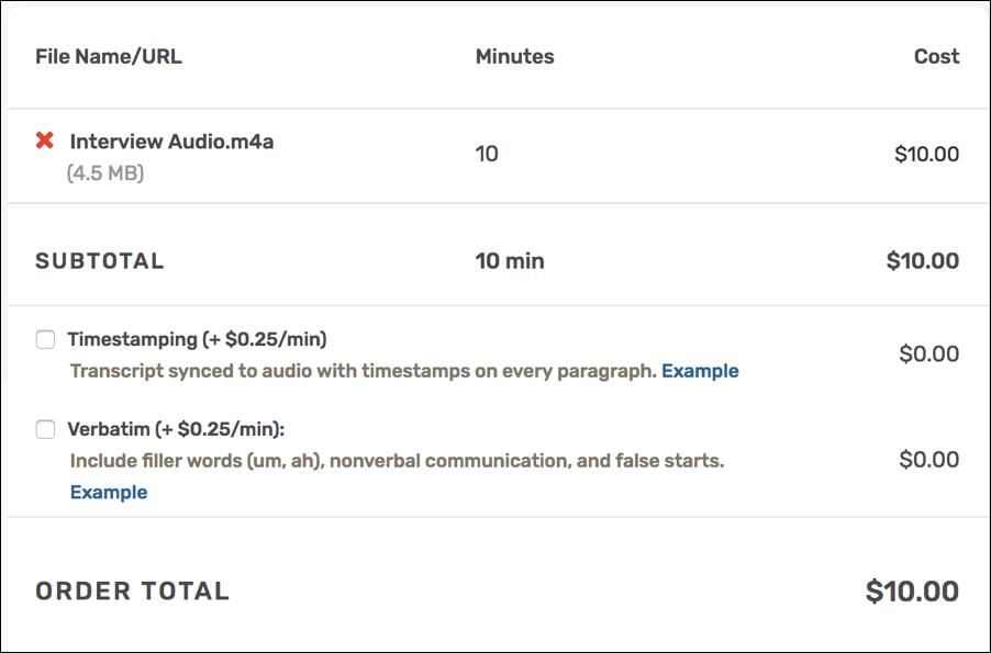 rev.com price of transcription for uploaded audio file