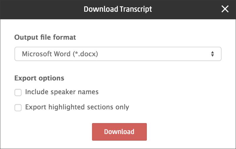 rev.com transcription transcript service download options