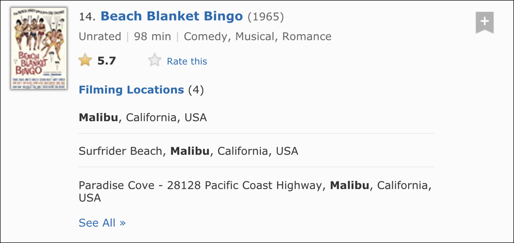beach blanket bingo filming locations: malibu ca