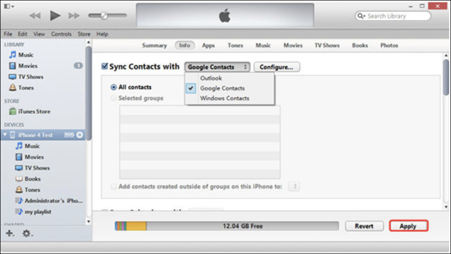 copy contacts google contacts -> apple iphone itunes