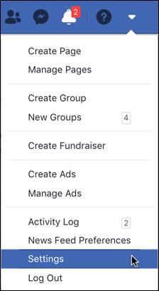 facebook main menu - settings
