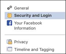 facebook > settings > security and login