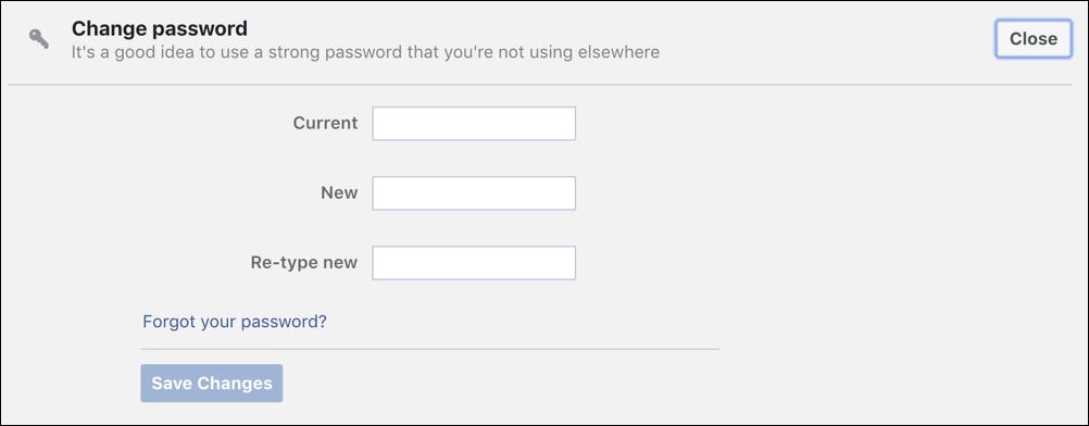 how to change password facebook account security