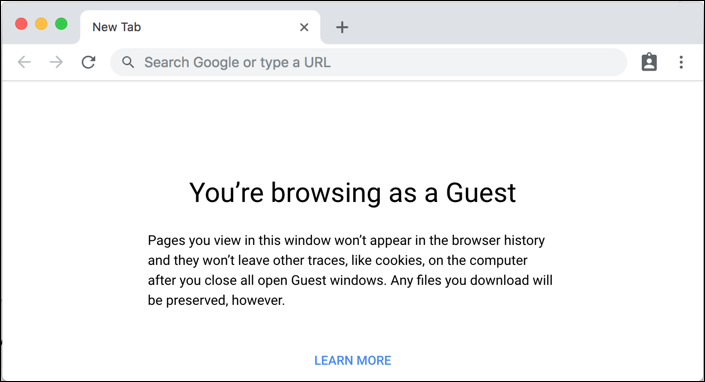 google chrome guest mode web browser window