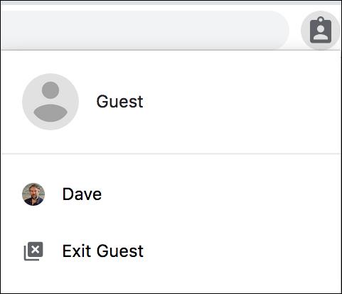 google chrome - guest menu