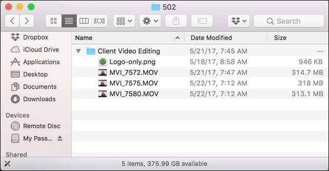 mac finder recovered mov video files