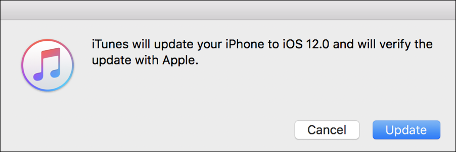 itunes ready to update iphone to ios12
