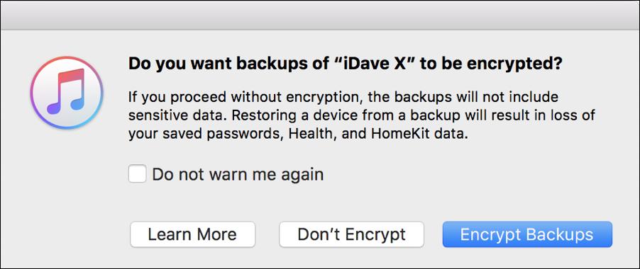 encrypt iphone backups?
