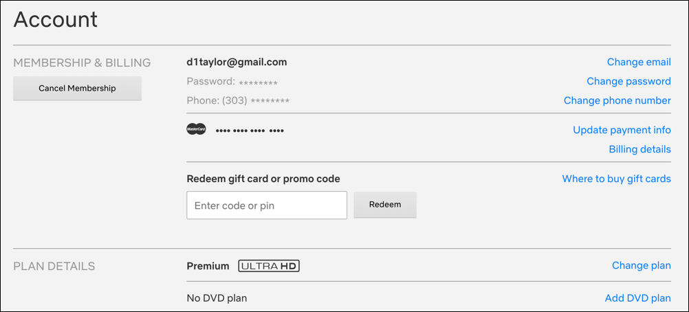 netflix account information billing