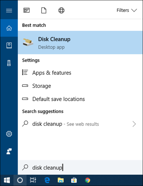 win10 cortana search 'disk cleaner'