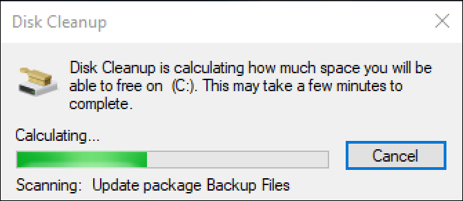 win10 disk cleanup progress