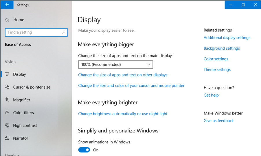 windows 10 win10 ease of access settings preferences
