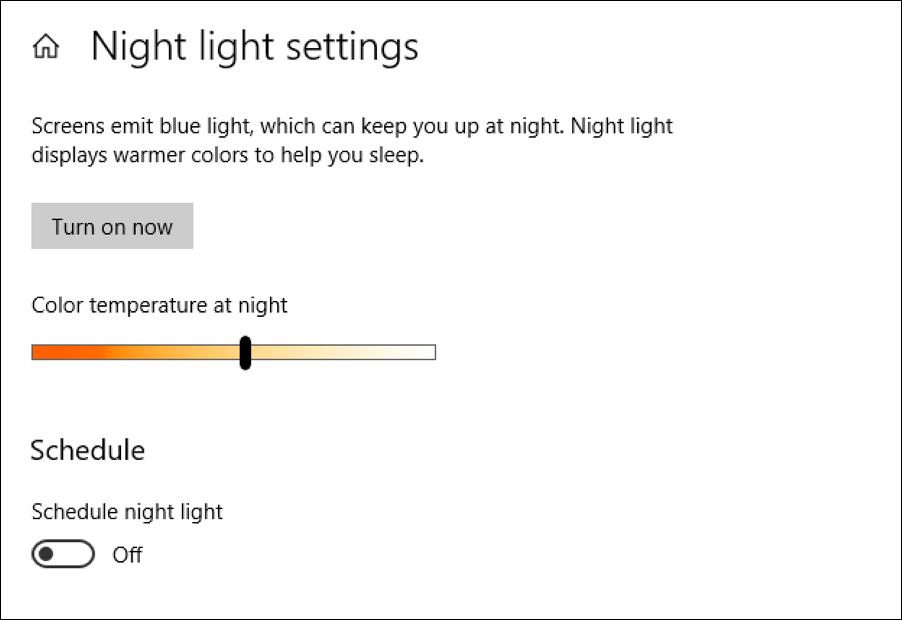 windows 10 night light blue light blocker settings preferences