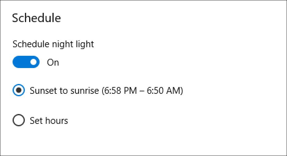 win night light schedule