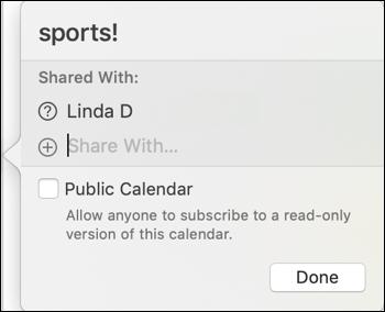 calendar shared with linda