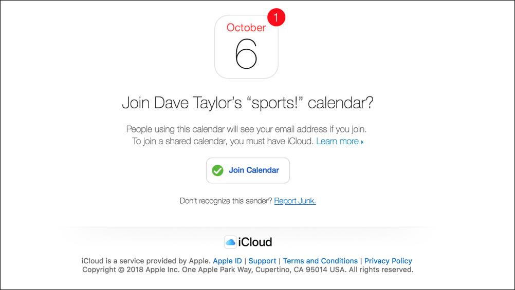 shared calendar invitation apple ical