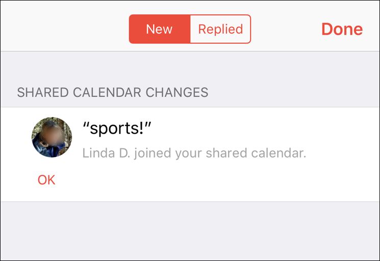 shared calendar accepted invitation notification iphone ios12