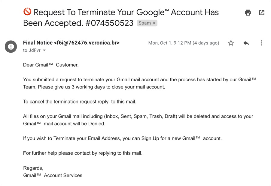 request to terminate your gmail account has been accepted spam scam phishing