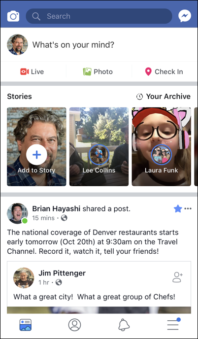 facebook app home page screen
