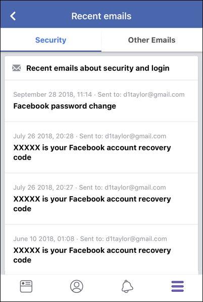 facebook recent email list iphone ios mobile app