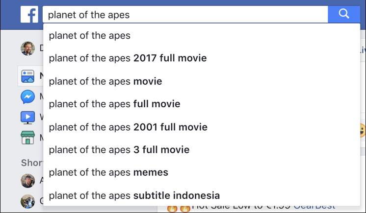 facebook search planet of the apes