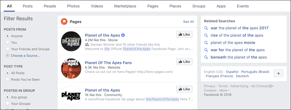 facebook search results - planet of the apes