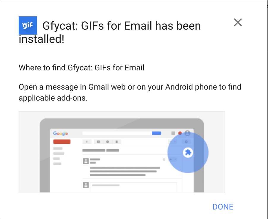 gfycat has been installed - gmail google mail