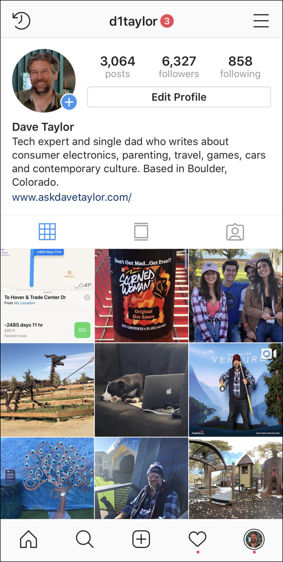 instagram main profile screen