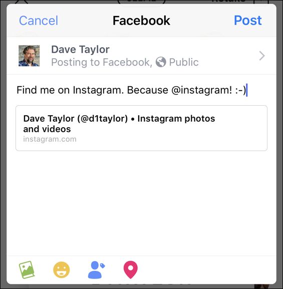 share instagram nametag on facebook, iphone ios12