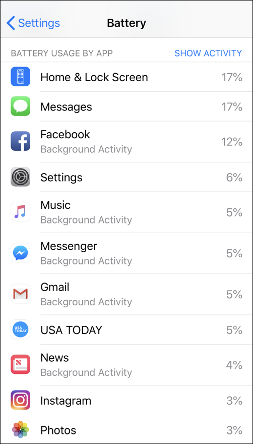 apps that use battery life, ios12.1