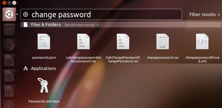 ubuntu system search: change password
