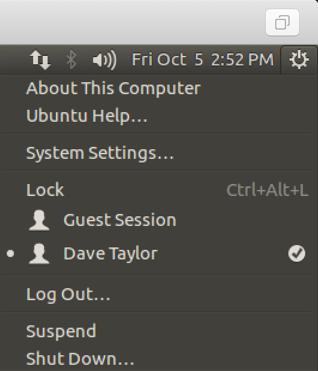 ubuntu linux main system menu