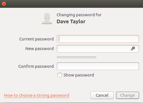 ubuntu linux change password