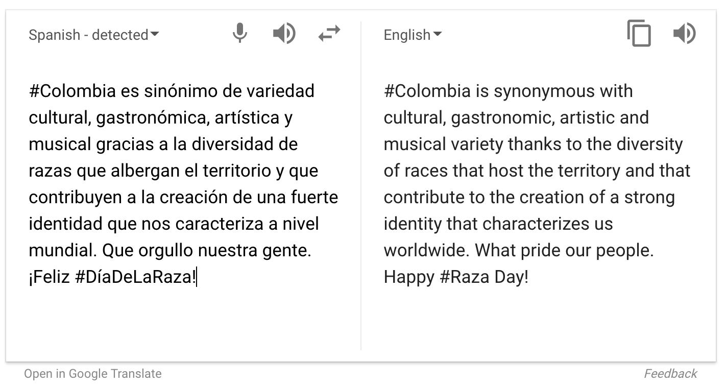 google translate #diadelaraza twitter tweet