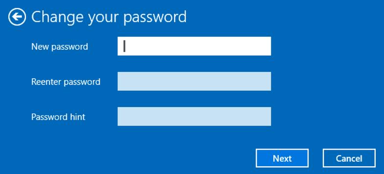 change password in windows 10